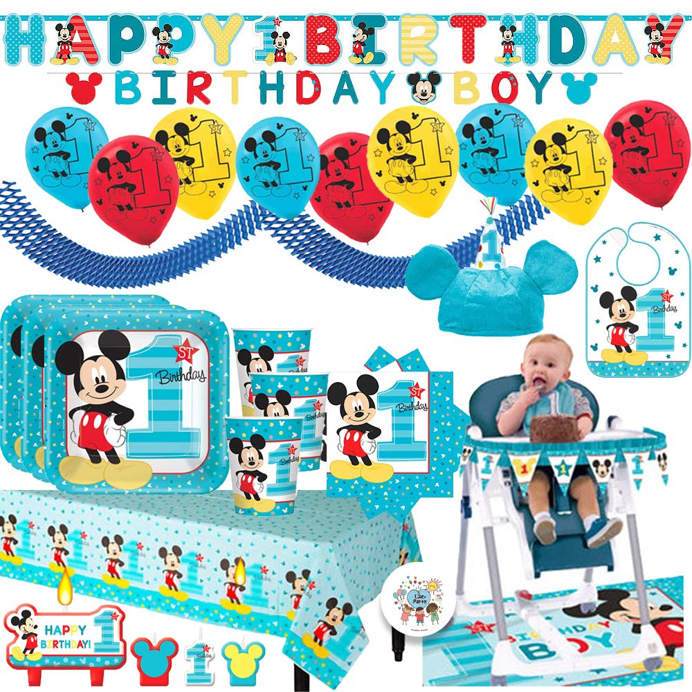 Mickey Mouse Fun To Be One MEGA First Birthday Party Supplies Pack For 16 Guests With Plates, Cups, Napkin, Tablecover, Balloons, Birthday Banners, High Chair Kit, Bib, Mickey Hat and Exclusive Pin!
