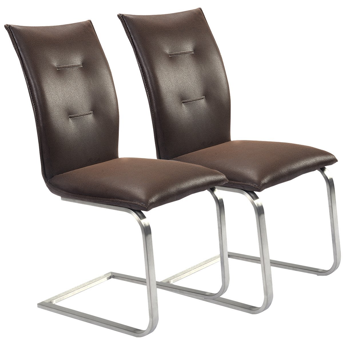 Amazon Giantex 2 Pcs Brown Dining Chairs High Back Furniture Home Breakfast Room Kitchen