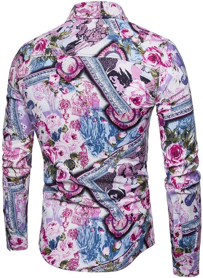Hilization Mens Button Down Long Sleeve Plus Size Floral Print Lapel Dress Shirt