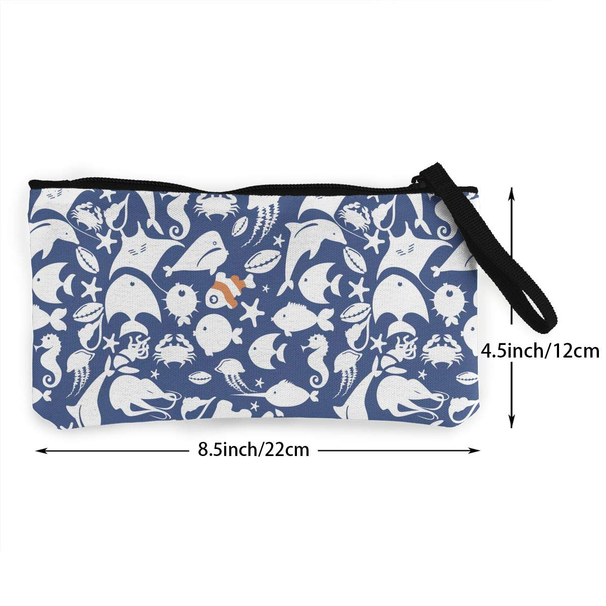 Lots of Fishes Pattern Canvas Makeup Bag with Zipper for Women Bk55Oi/&/& Womens Vintage Coin Purse