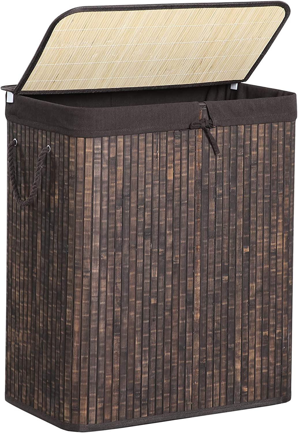 SONGMICS Divided Laundry Hamper with Removable Liner, Two-Section Laundry Basket Sorter with Lid and Handles, 26 Gal (100L), Rustic Brown ULCB64WN