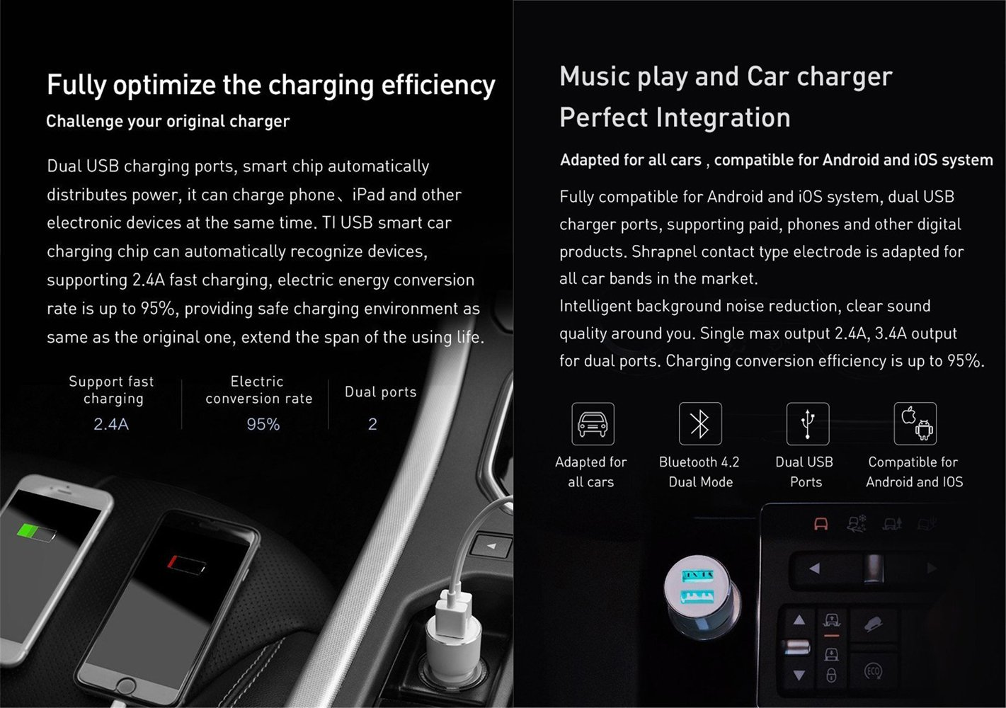Autoday Car Kit 5V//3.4A Dual USB Output Charger Fast Charge Adapted For Most Cars with Music Play//FM Transmitter Suitable for Android /& iOS ROIDMI 3S Bluetooth FM Transmitter