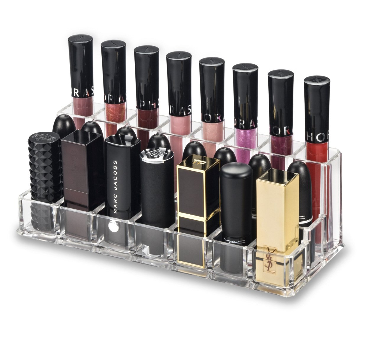 byAlegory Acrylic Lip Makeup Organiser | Combination Rows For Lip Gloss (Back Row), Lipstick & Larger Base Lipsticks (Front Row) PC-15-T