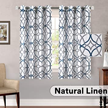 H.VERSAILTEX Living Room Linen Curtains Home Decorative Privacy Added  Energy Saving Light Filtering Window Treatments Draperies for Short Window,  2 ...