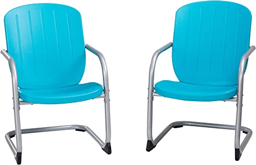 Lifetime 60161 Plastic Retro Outdoor Patio Chairs, Comfort Contoured Polyethylene, 2 Pack, Blue
