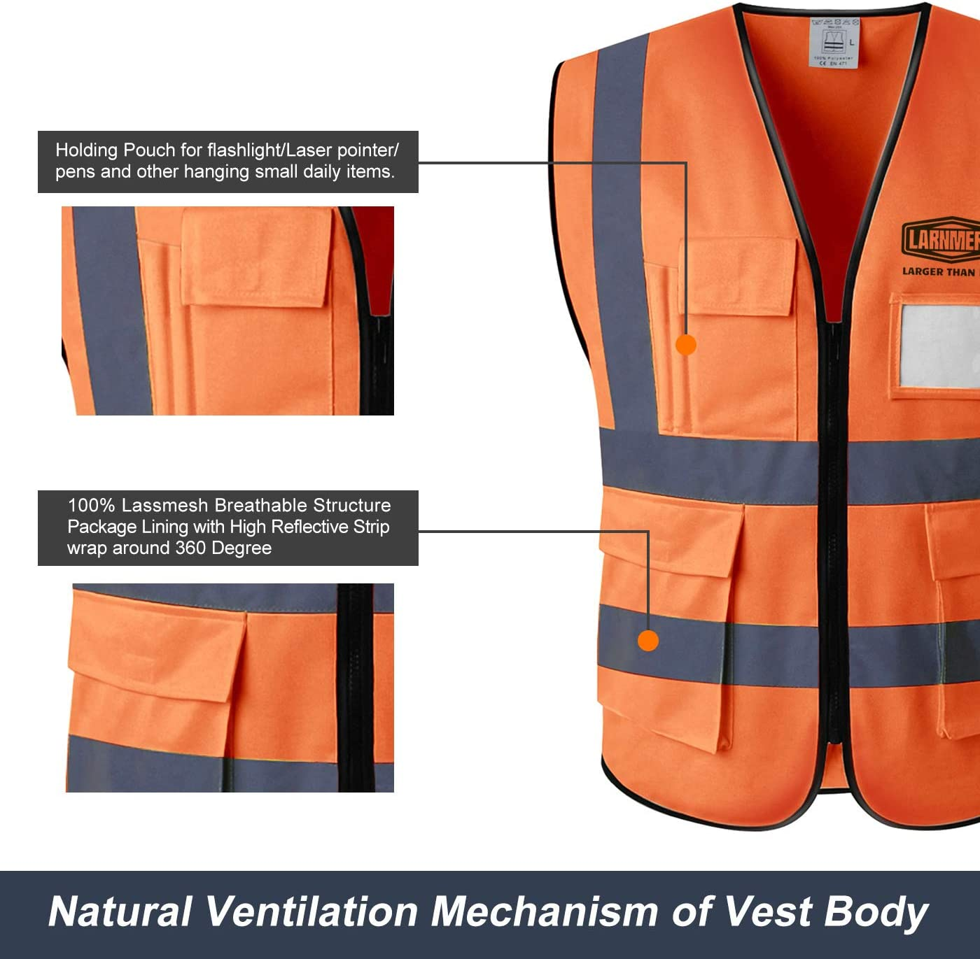 LARNMERN Safety Vest ,Safety Night Overalls With Reflective Strips Mesh Orange,3X-Large