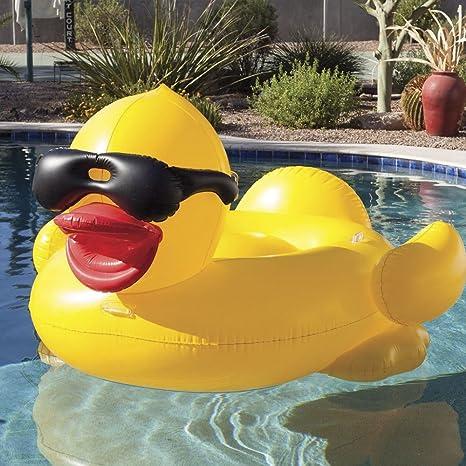 Newin Star Flotador Pato,Flotador Patito de Hinchable Flotador Colchoneta Gigante con Asiento para Adultos y niños Juguete para Fiesta Piscina de Verano: ...