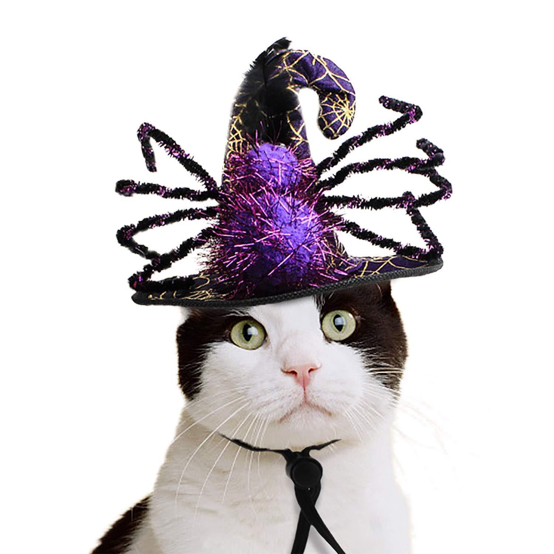 NICREW Gorro de Halloween para Gato Perro, Gorra de Araña de Mascota Gorra de Bruja de Halloween para Fiestas de Vacaciones Gorro de Mascarada para Gatito y ...