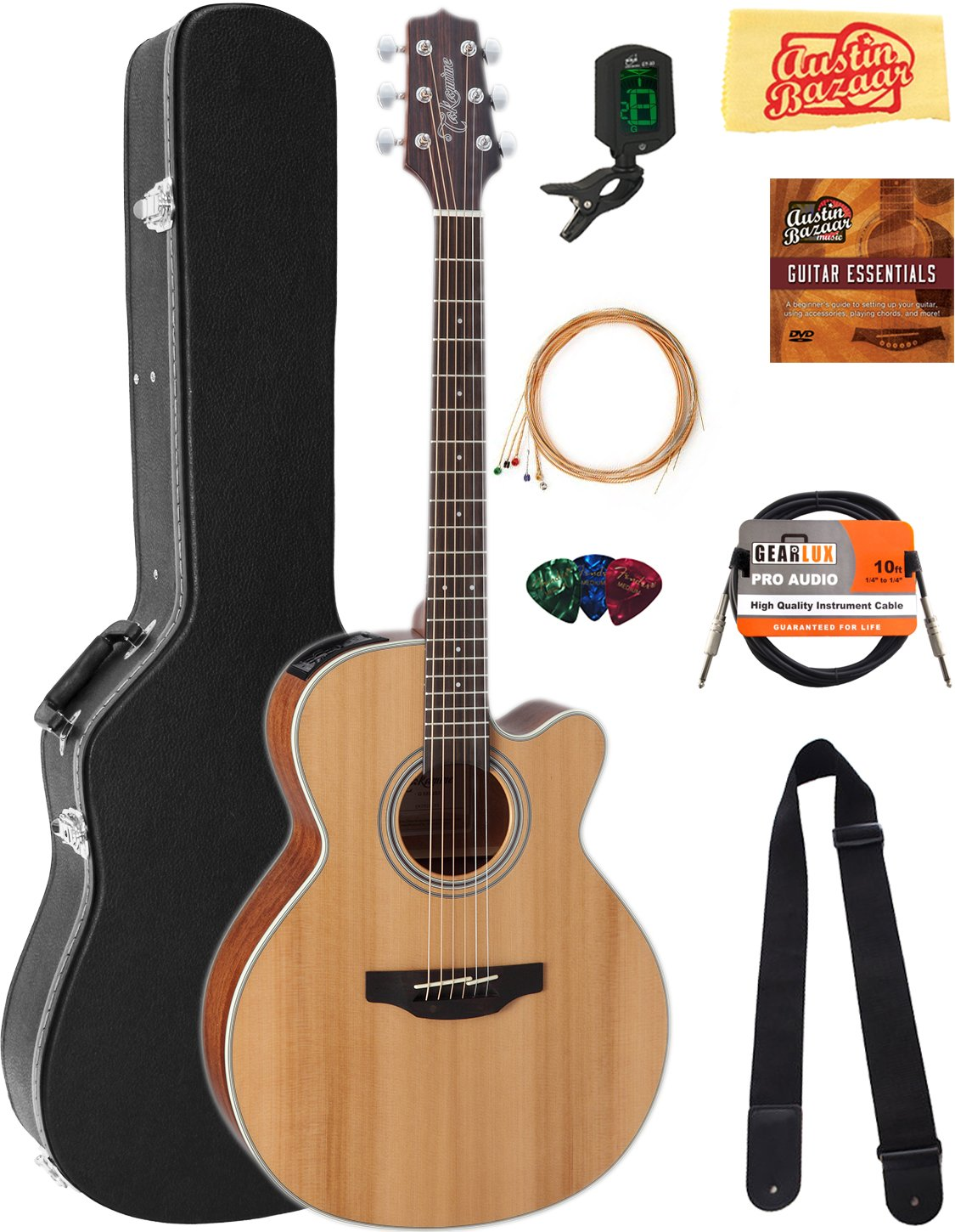 Takamine GN20CE NEX Cutaway Acoustic-Electric Guitar - Natural Satin Bundle with Hard Case, Cable, Tuner, Strap, Strings, Picks, Austin Bazaar Instructional DVD, and Polishing Cloth by Takamine