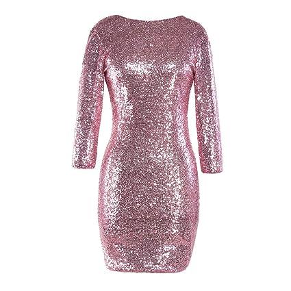 15e04024 Amazon.com: Women Dresses Evening Party,Vanvler Ladies Sequin Dress Bodycon  Sparkle Glitzy Glam Long Sleeve Flapper Club Mini Dress (M =US 6, Pink):  Home & ...