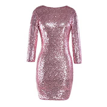 6b45aa38efd KFSO Women s Glitter Sequin Backless Long Sleeve Slim Party Club ...