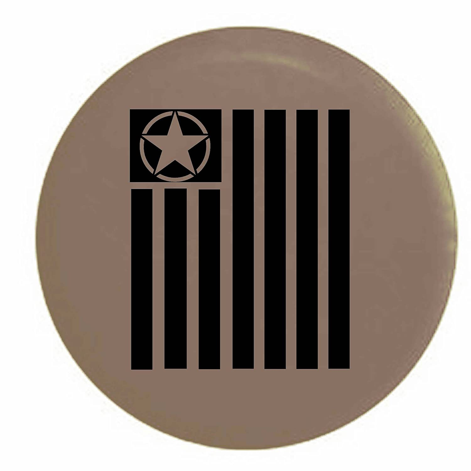 Tactical Military Star Vertical Freedom Flag Spare Tire Cover OEM Vinyl Black 32 in Pike Outdoors