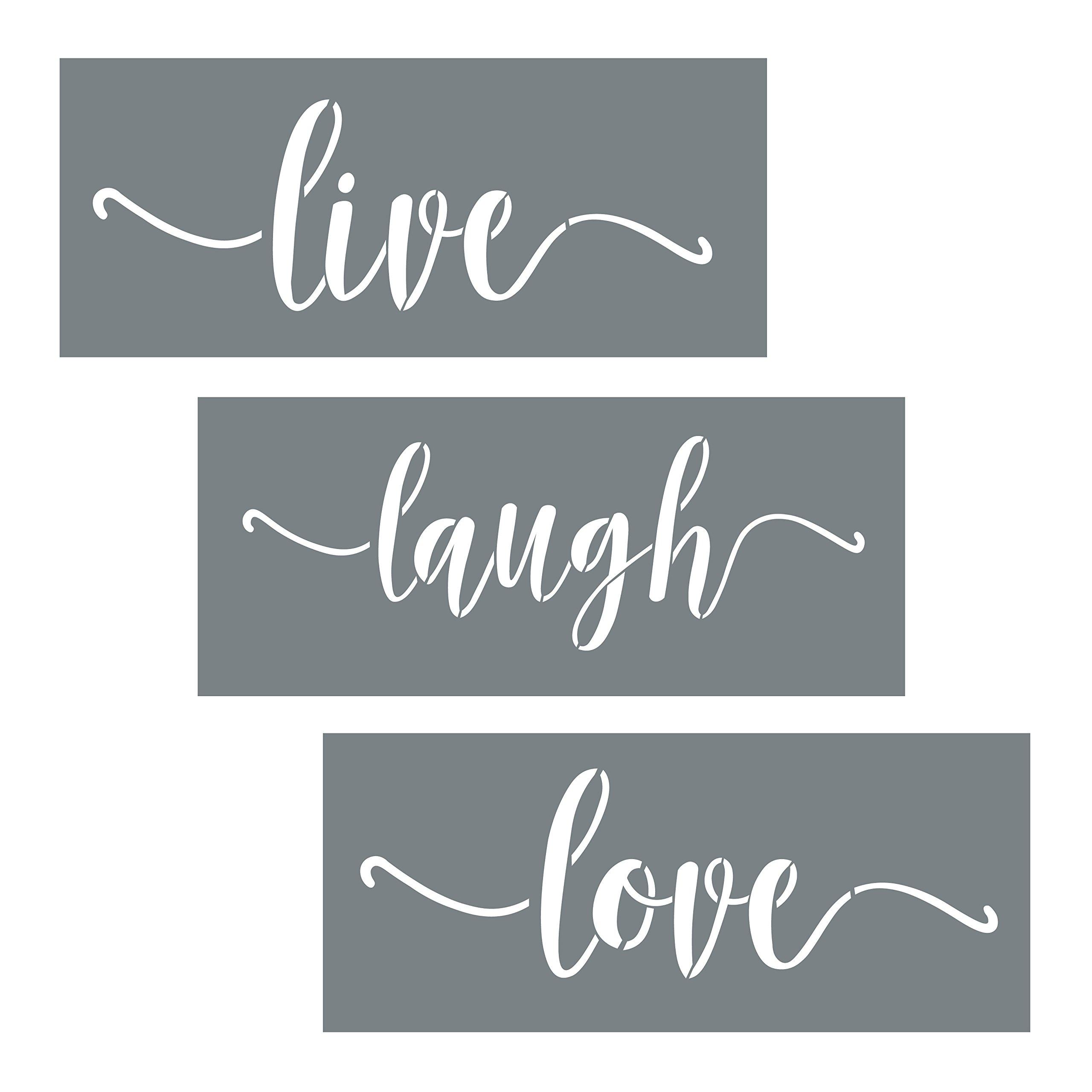 Live, Laugh, Love Quote Stencils - 3 Reusable Script Stencils - Wall Stencil Set for Making DIY Wall Decor