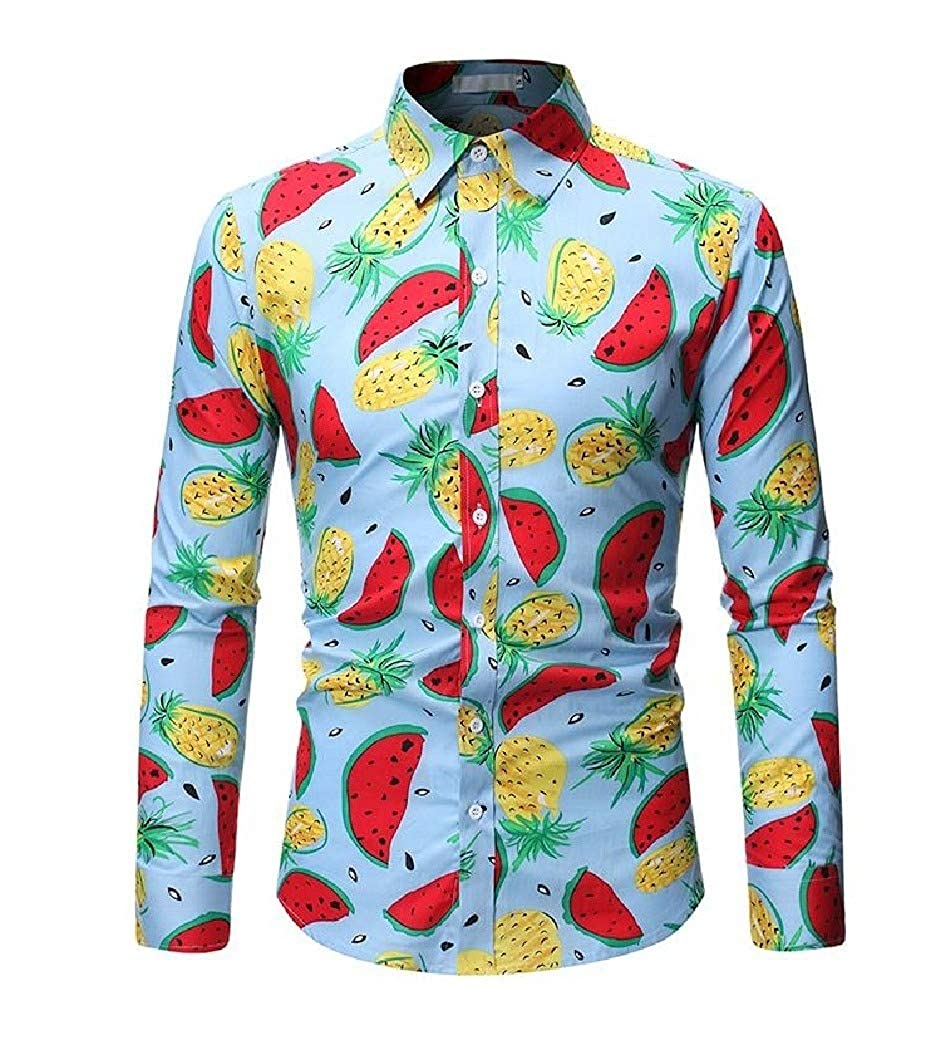 Tralounry Mens Fit Printed No Iron Single Breasted Long Sleeve Shirts