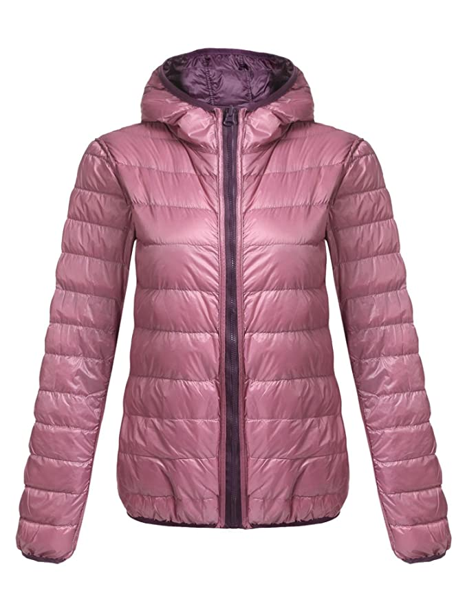Lonlier Chaqueta Pluma Mujer Reversible con Capucha Packable ...