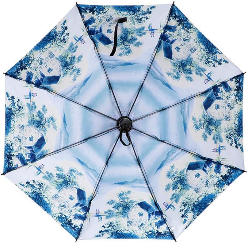Comeyang Mini sombrilla, Paraguas de Viaje portátil, protección UV, Actividades al Aire Libre,Paraguas Transparente Plegable Triple Protector Solar color5 99cm: Amazon.es: Hogar