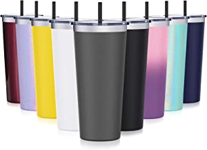 Stainless Steel Travel Tumbler with Lid, Aikico 22oz Double Wall Vacuum Insulated Coffee Mugs with Straws, Keeps Drinks Cold & Hot, Silver Gray