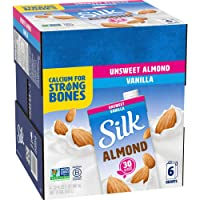 Silk Almond Milk, Unsweetened Vanilla, 32 Fluid Ounce (Pack of 6), Vanilla Flavored Non-Dairy Almond Milk, Dairy-Free Milk (2 Boxes(Pack of 6))