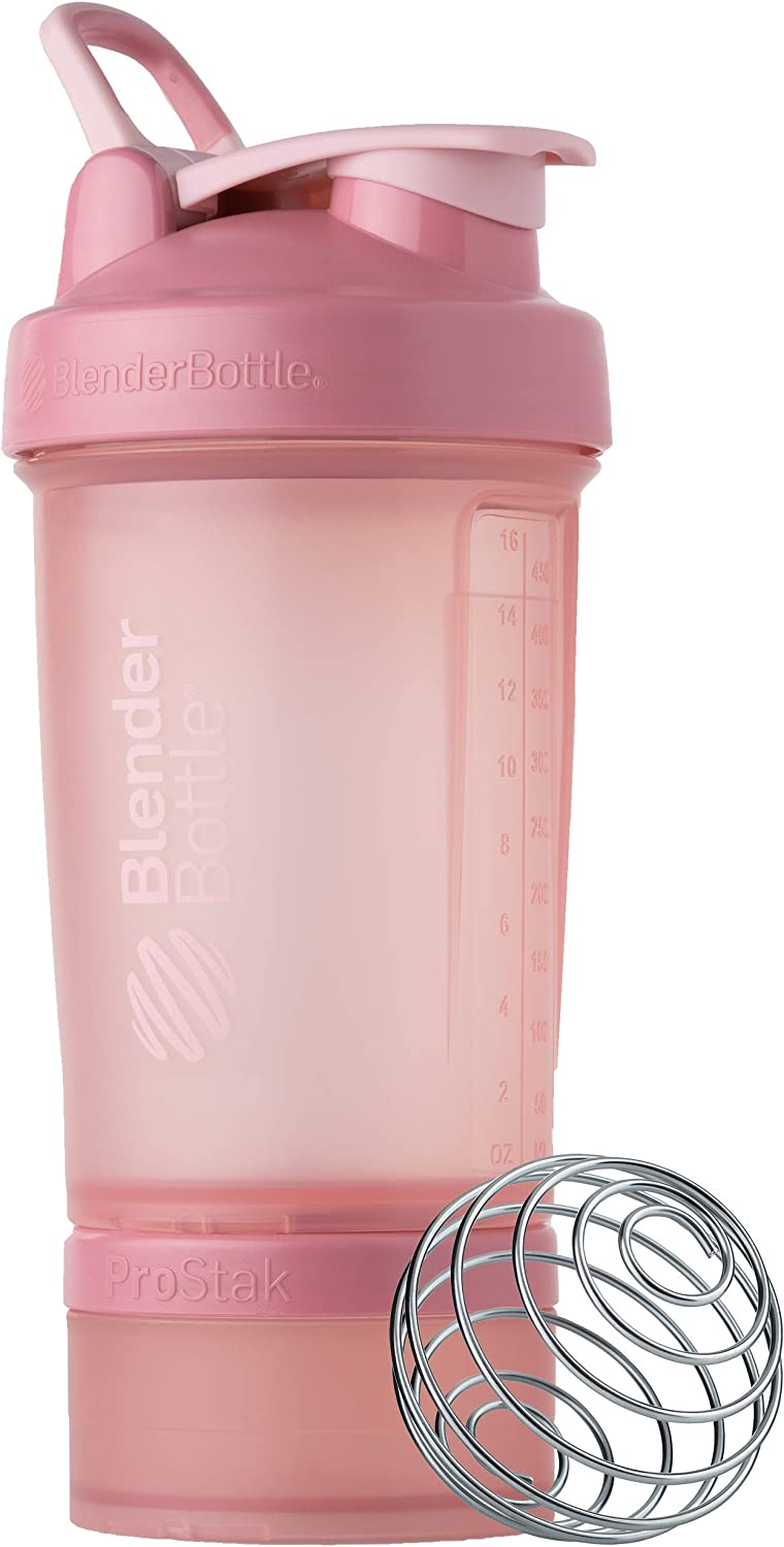 BlenderBottle Shaker Bottle with Pill Organizer and Storage for Protein Powder, Classic V2 ProStak System, 22-Ounce, Rose Pink