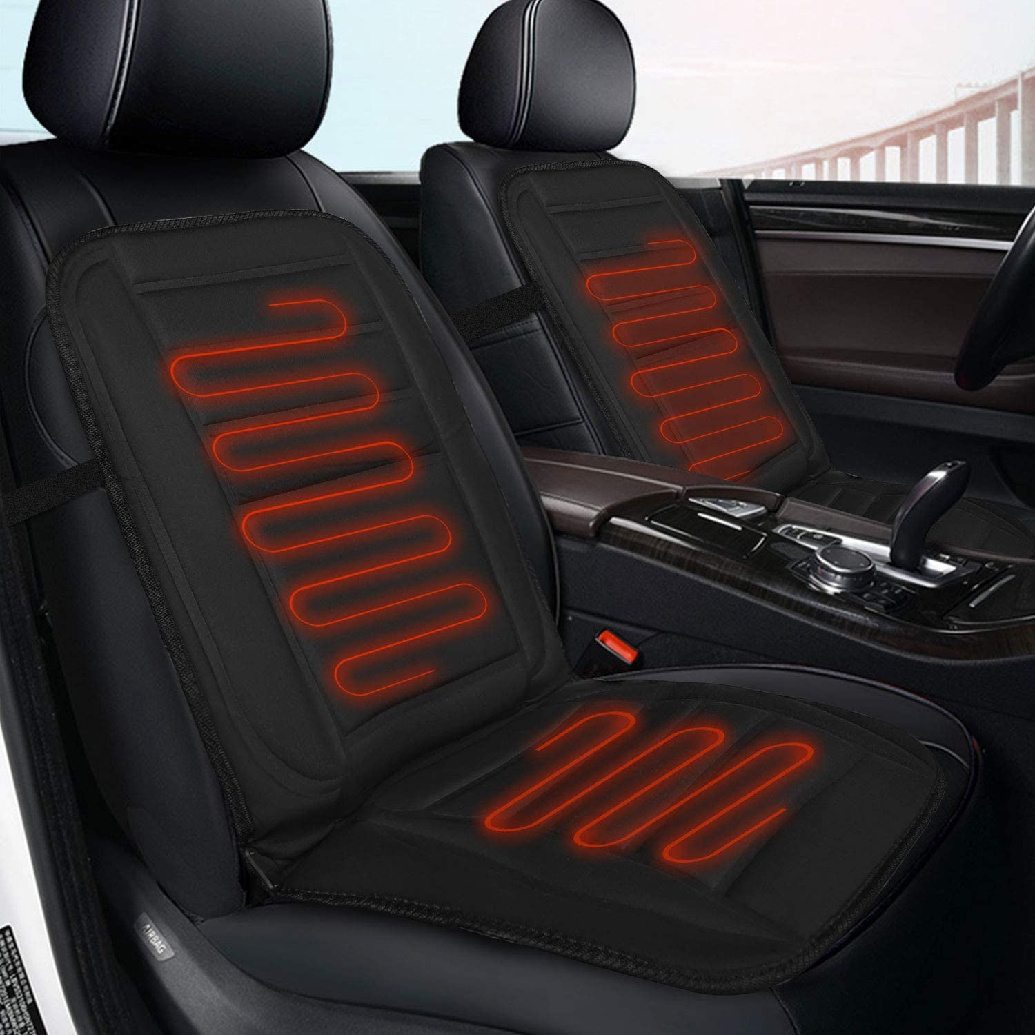 XUELI Heated Car Seat Cushion, Universal 12V Heated Multifunctional Car Seat Heater Fast Warming for Cold Weather Winter Driving Safer, Heated Seat Cover for Car/Truck/Home/Office Chair Use