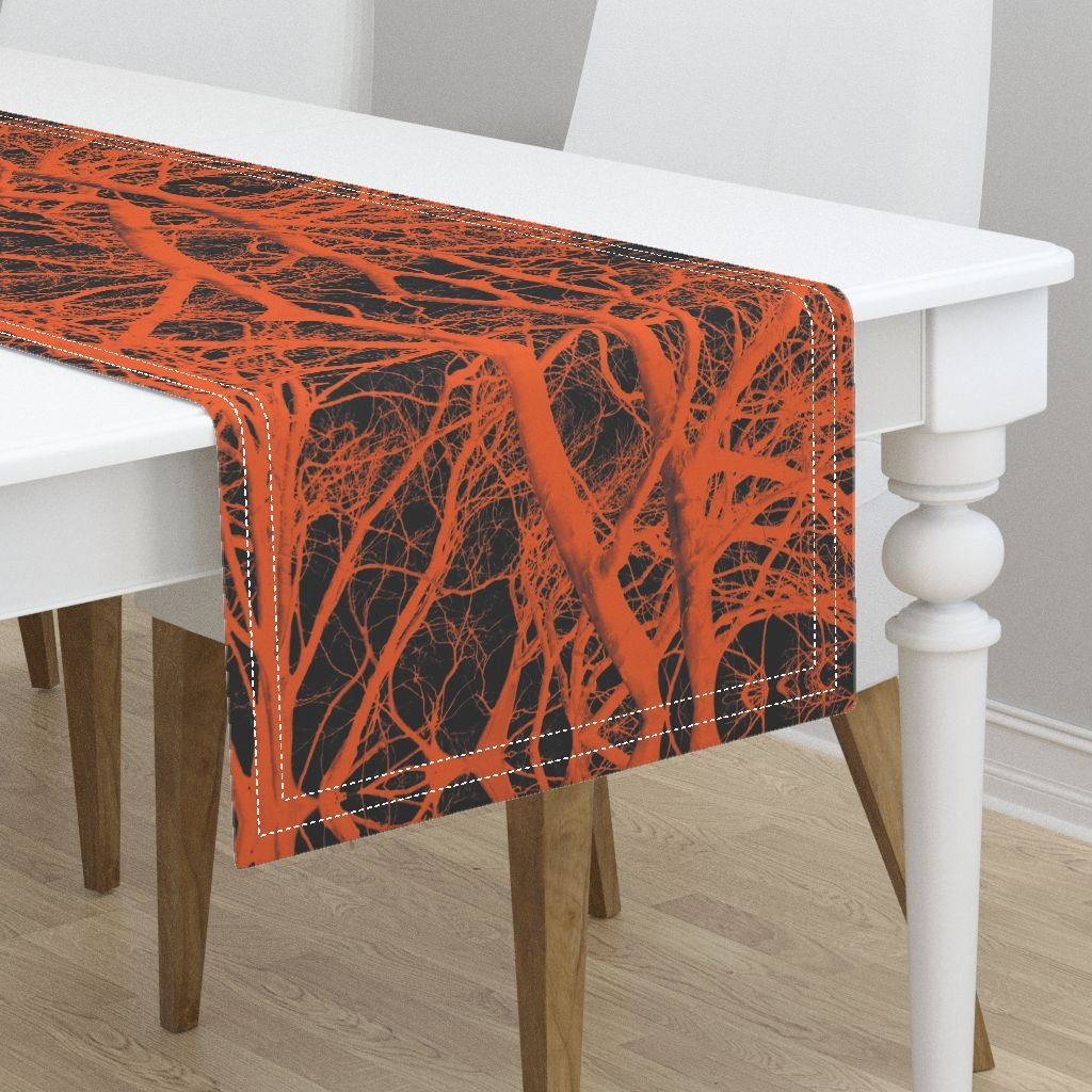 Table Runner - Tree Trees Branches Wood Black Orange Halloween by Peacoquettedesigns - Cotton Sateen Table Runner 16 x 72