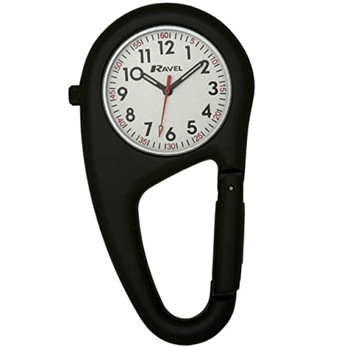 Ravel Unisex-Armbanduhr Ravel Matt Black Belt Clip Watch.Fully Secure to Fit on your Belt or Backpack. Analog Edelstahl Schwarz R1105.03B