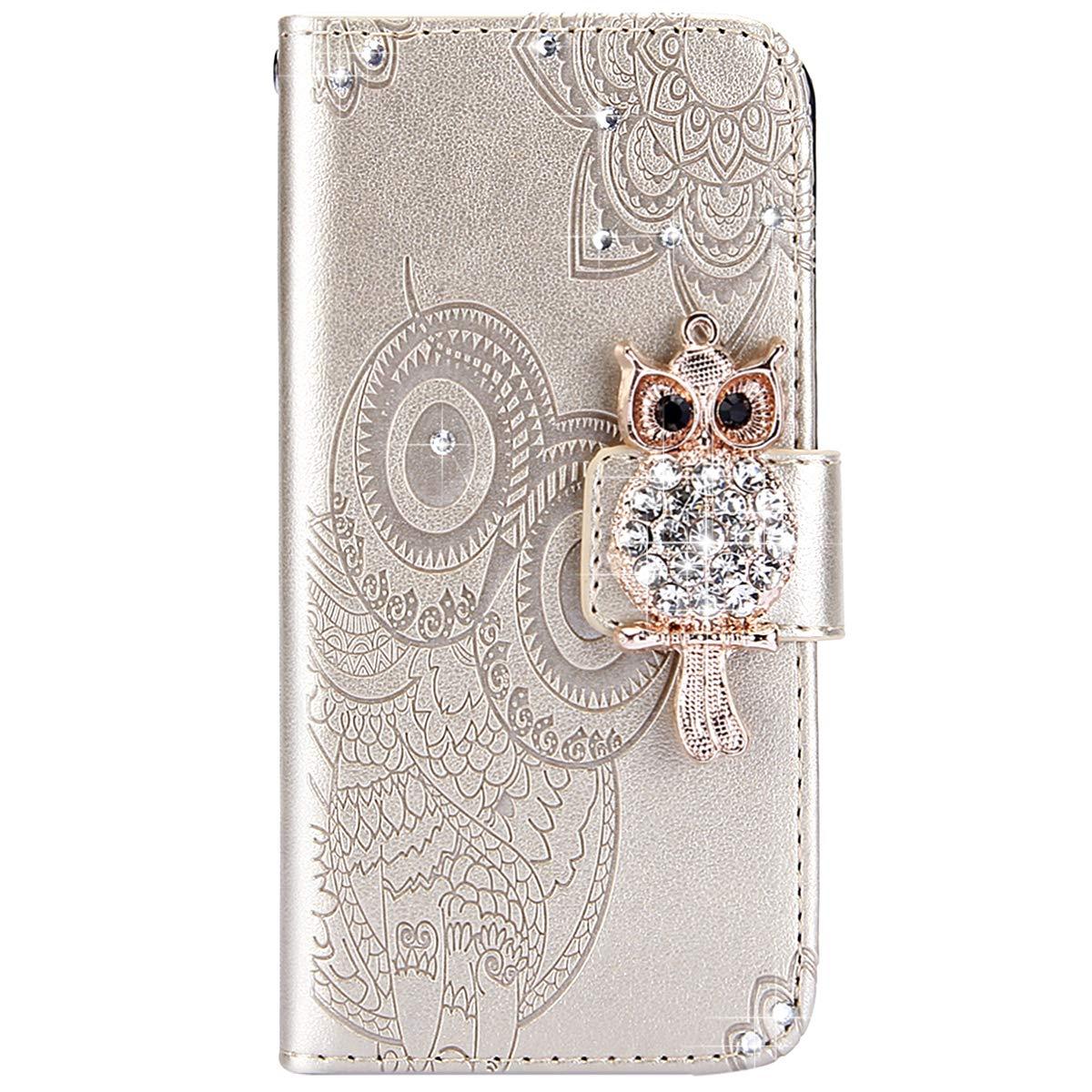 Felfy Compatible avec iPhone 6 Plus Housse,Coque iPhone 6S Plus Pochette Portefeuille Housse en Cuir Coque /à Rabat Clapet Etui 3D Brillante Hibou Glitter Paillett/é Strass Flip Wallet Case,Or