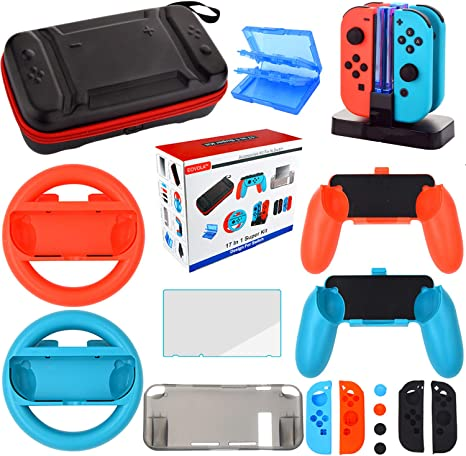 Kit Accesorios para Nintendo Switch - Funda Protector de Pantalla para Switch Consola - Estuche De Juegos - Funda de Silicona Grips Wheel Caps para Nintendo Switch Joy-Con Mandos (17 in 1): Amazon.es: Videojuegos