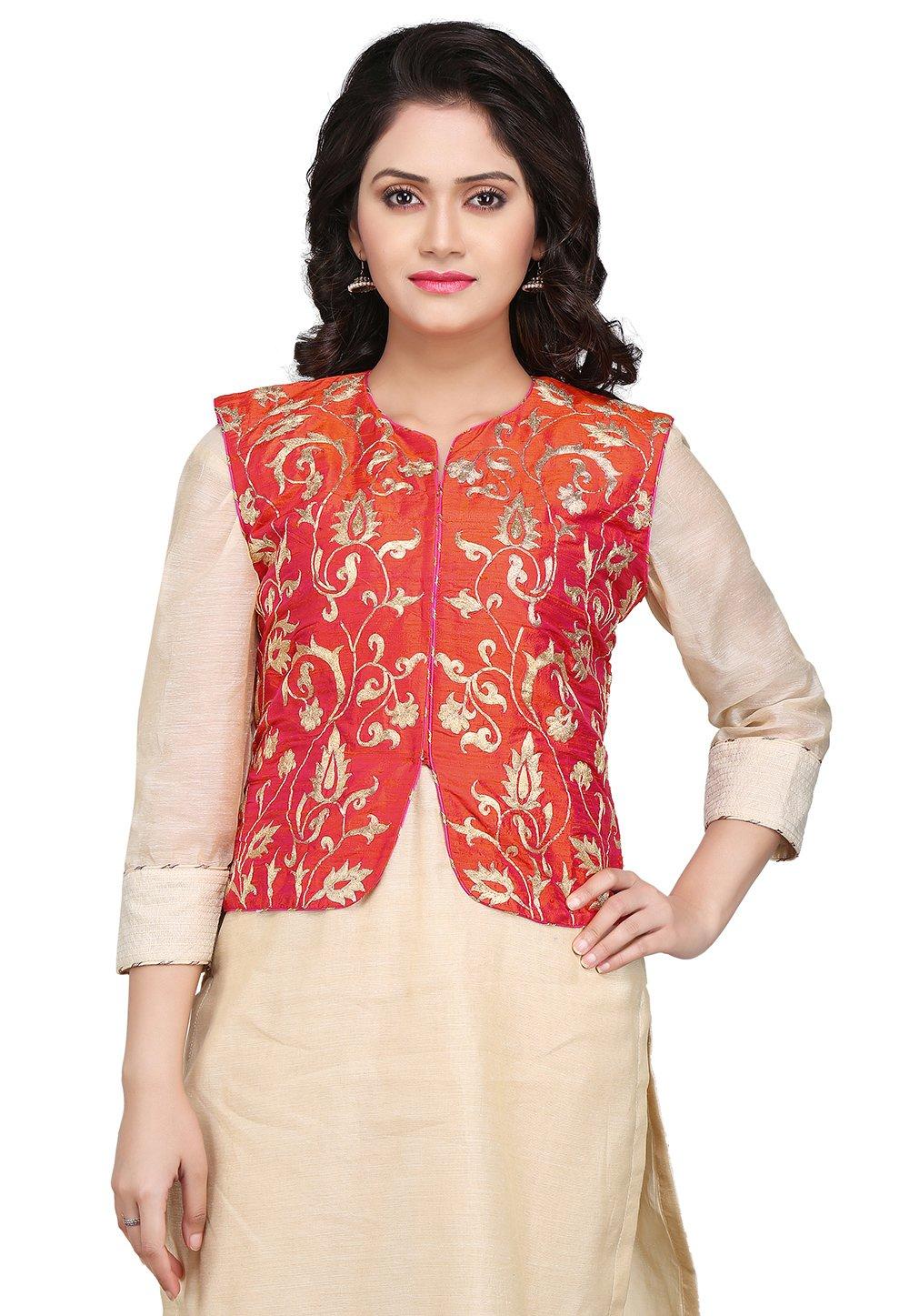 Utsav Fashion Embroidered Dupion Silk Jacket in Red by Utsav Fashion