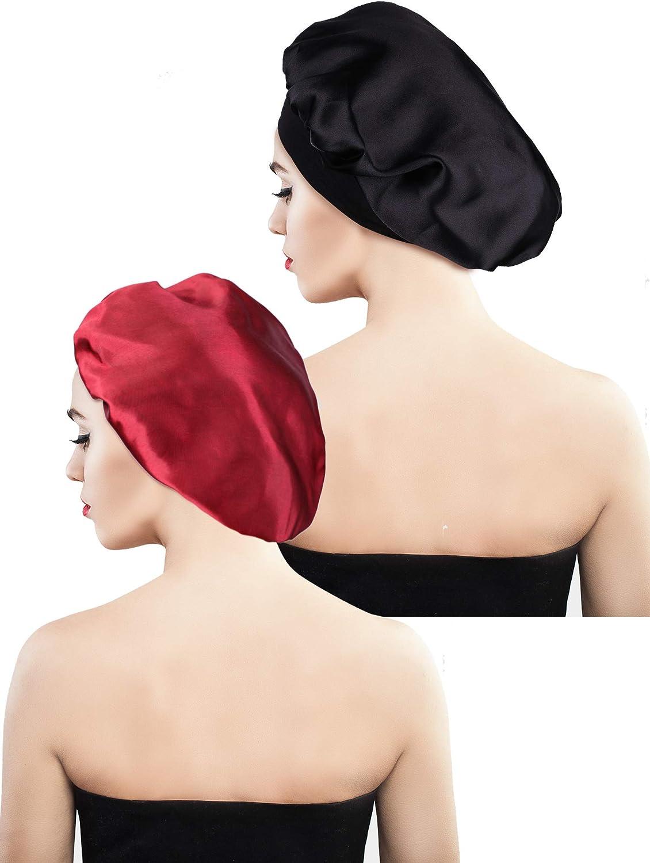 Blulu 2 Pezzi Berretto di Raso Cappello da Notte Copricapo Addormentato per Donne Ragazze