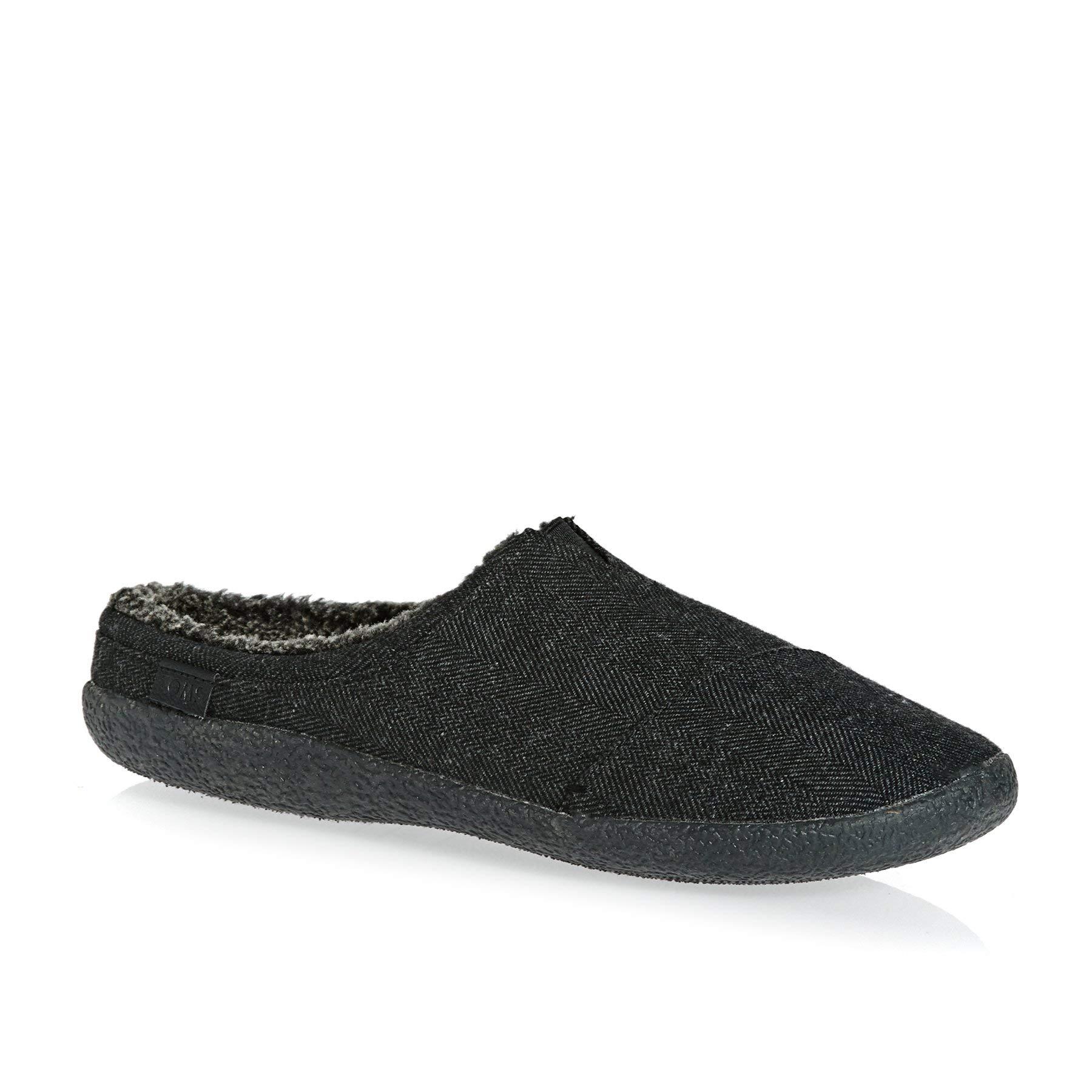 TOMS Men's Berkeley Slipper Black Herringbone Woolen 9 D US