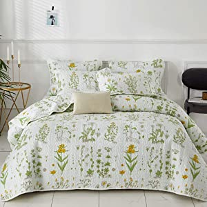 Joyreap 3 Pieces Reversible Quilt Set, Smooth Soft Microfiber Quilt, Yellow Flowers Green Leaves Botanical Design, Bedspread Bed Cover for All Season, 1 Quilt n 2 Pillow Shams (Botanical, Full/Queen)