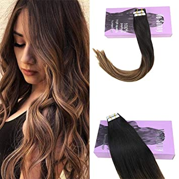 VeSunny Balayage Tape in Black Hair Extensions Color 1B Natural Black  Ombre 4 Brown Mix 27