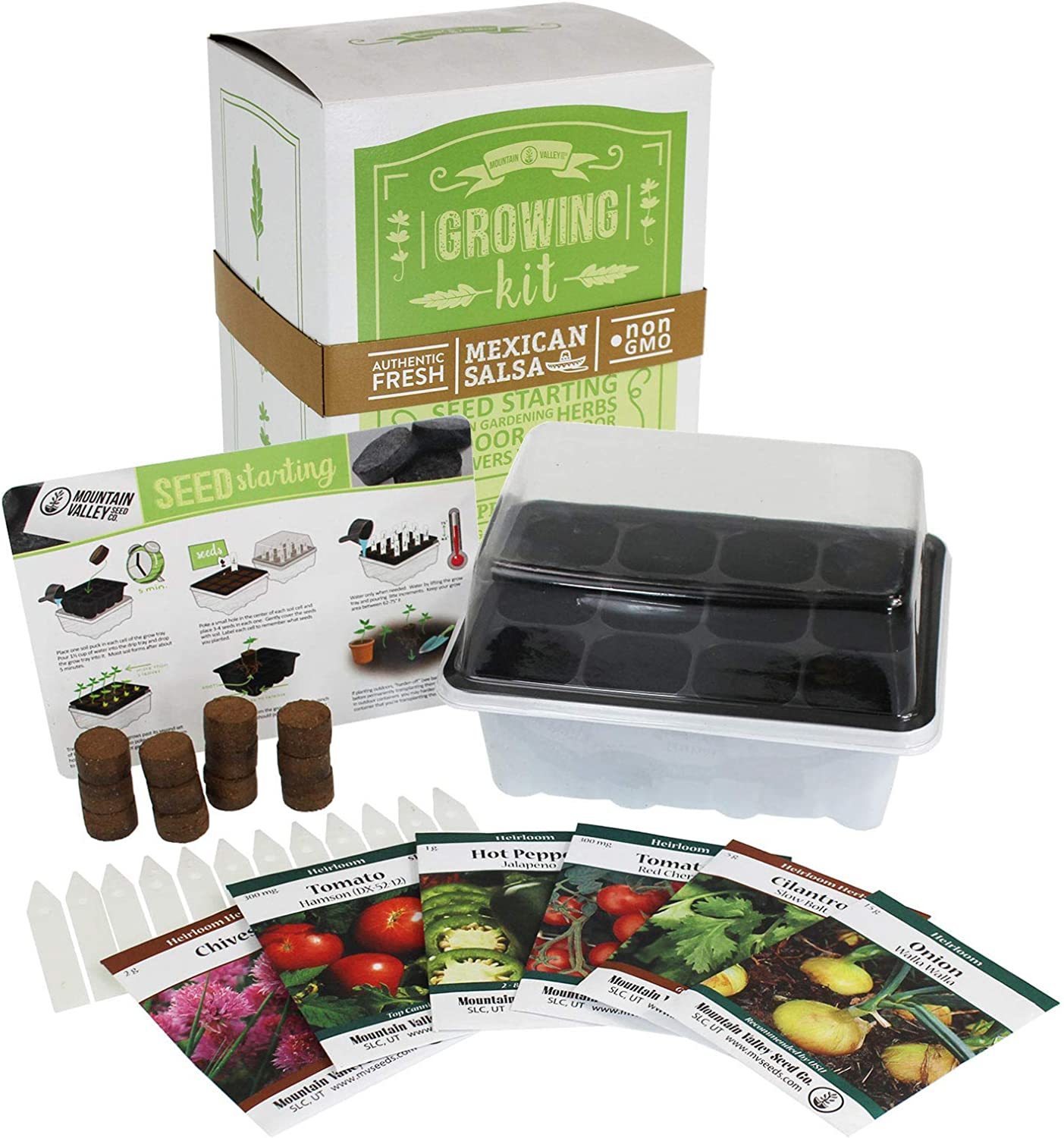 Salad & Vegetable Garden Seed Starter Kit | Basic | 6 Non-GMO Varieties | Gardening Starter Kit | Seeds: Mixed Lettuce Greens, Radish, Carrot, Tomato, Cabbage & More