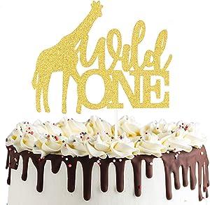 Wild One Giraffe Cake Topper Safari Jungle Animal Happy 1st Birthday Cake Decor, First Birthday Baby Shower Party Decorations