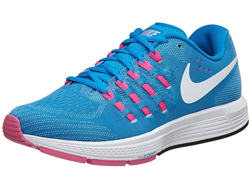nike womens air zoom vomero 11 running trainers 818100 sneakers shoes (US 8.5, blue glow white pink blast 401)