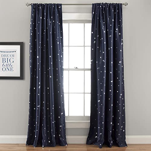 Lush Decor Pair, 95 x 52 , Navy Star Blackout Curtains-Window Panel Set, 95 L