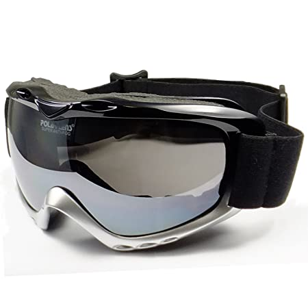 Polarlens PG9 Matte Silver Ski and Snowboard Goggles High Performance Helmet Compatable Extra Long Adjustable Strap Optical Lenses with Anti-Fog Coating German Engineered