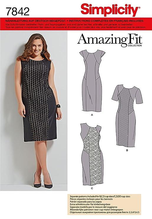 Burda Simplicity s7842. AA Schnittmuster Kleid Papier weiß 21 x 15 ...