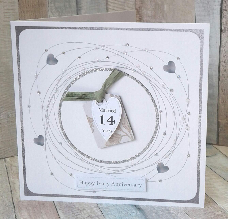 14th Wedding Anniversary Card Ivory Anniversary Amazon