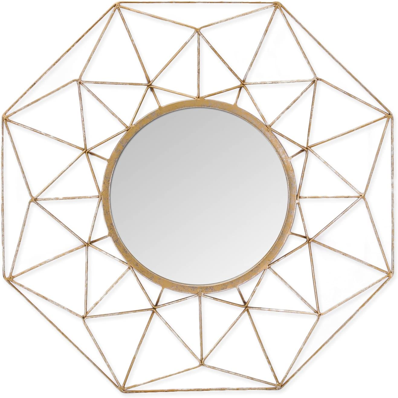 Adeco Metal Round Sunburst Mirror-Gold Color-23.7x23.7 Inches Home Wall Decor