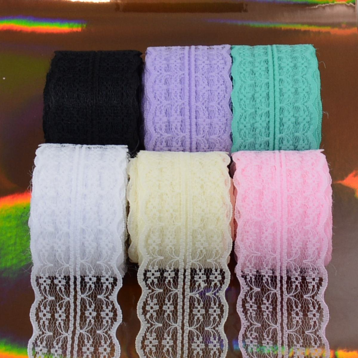 10 Yards//Each Roll 60 Yards 1.8 inch Wide 6 Colors Lace Trim Ribbon with Floral Pattern for Wedding Invitation Cards Inclduing 6 Rolls Sewing Mix color-01 Decorating Gift Package Wrapping