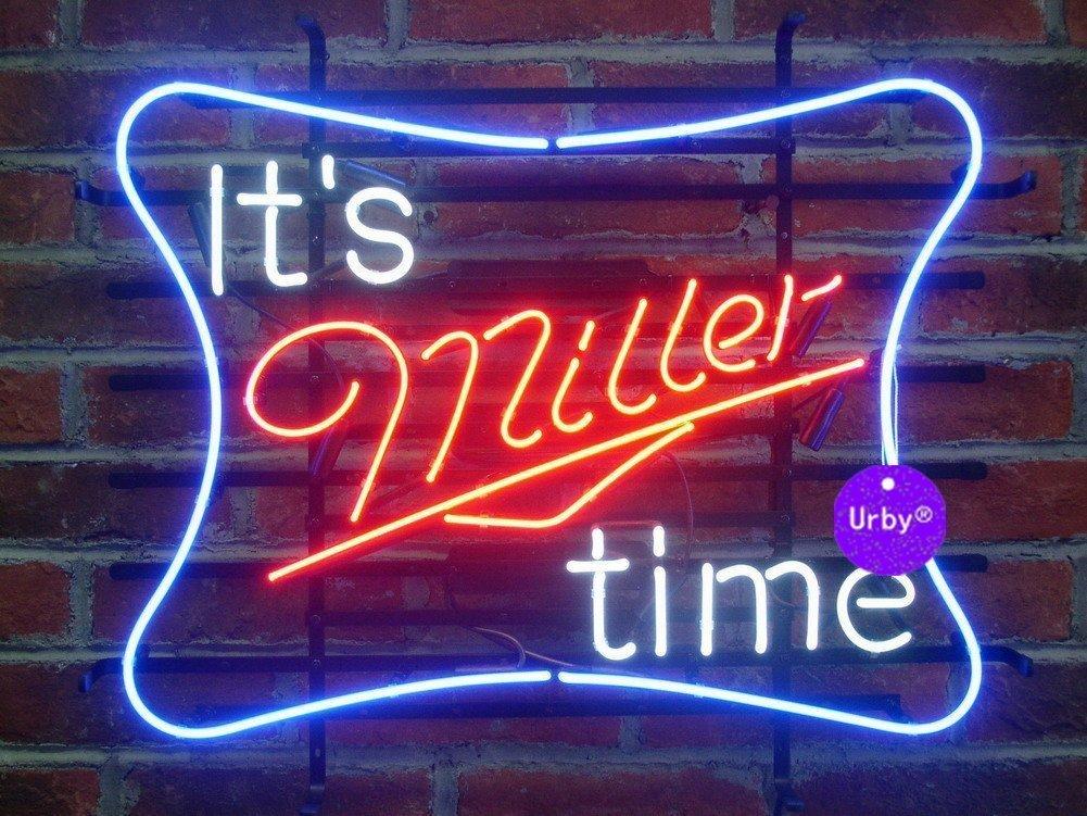 Urby™ 17''x14'' It's Miller Time Custom Handmade Glass Tube Neon Light Sign 3-Year Warranty-Unique Artwork! U303