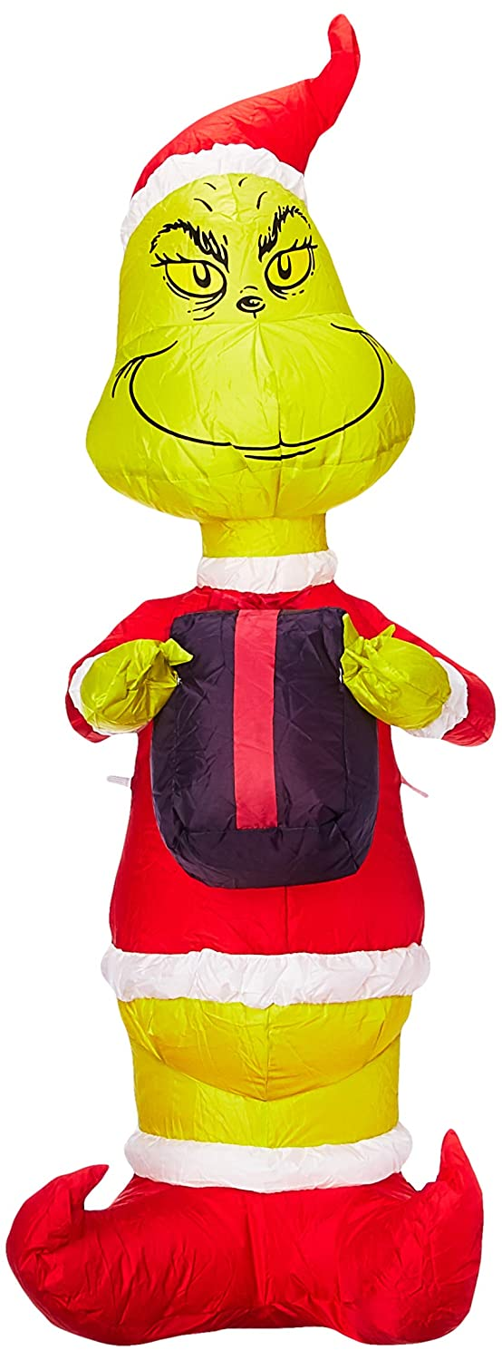 Gemmy 81246 Airblown Grinch with Present Christmas Inflatable 4 FT TALL