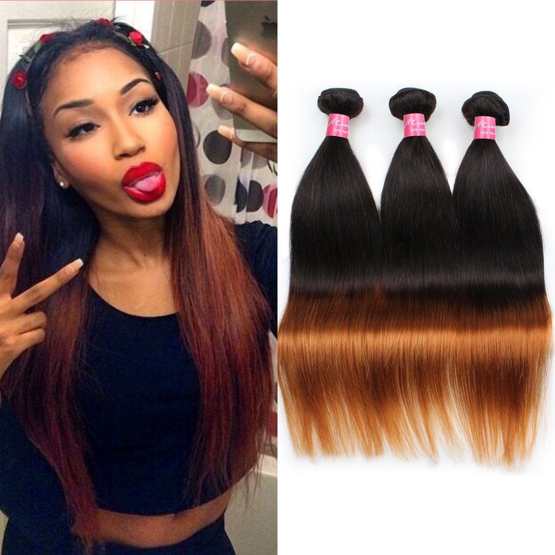 Mink Hair Brazilian Ombre Straight 12 12 12 100 Virgin Human