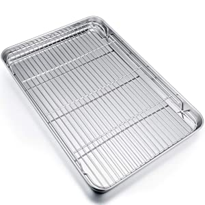 P&P CHEF Extra Large Baking Sheet and Rack Set, Stainless Steel Cookie Sheet Baking Pan with Cooling rack, Rectangle 19.6''x13.5''x1.2'', Oven & Dishwasher Safe -Half Size