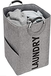 NISHEL Large Laundry Hamper with Handles, 16 x 16 x 26 inches Collapsible Dirty Clothes Basket for Washing Storage, Grey (Black Laundry)
