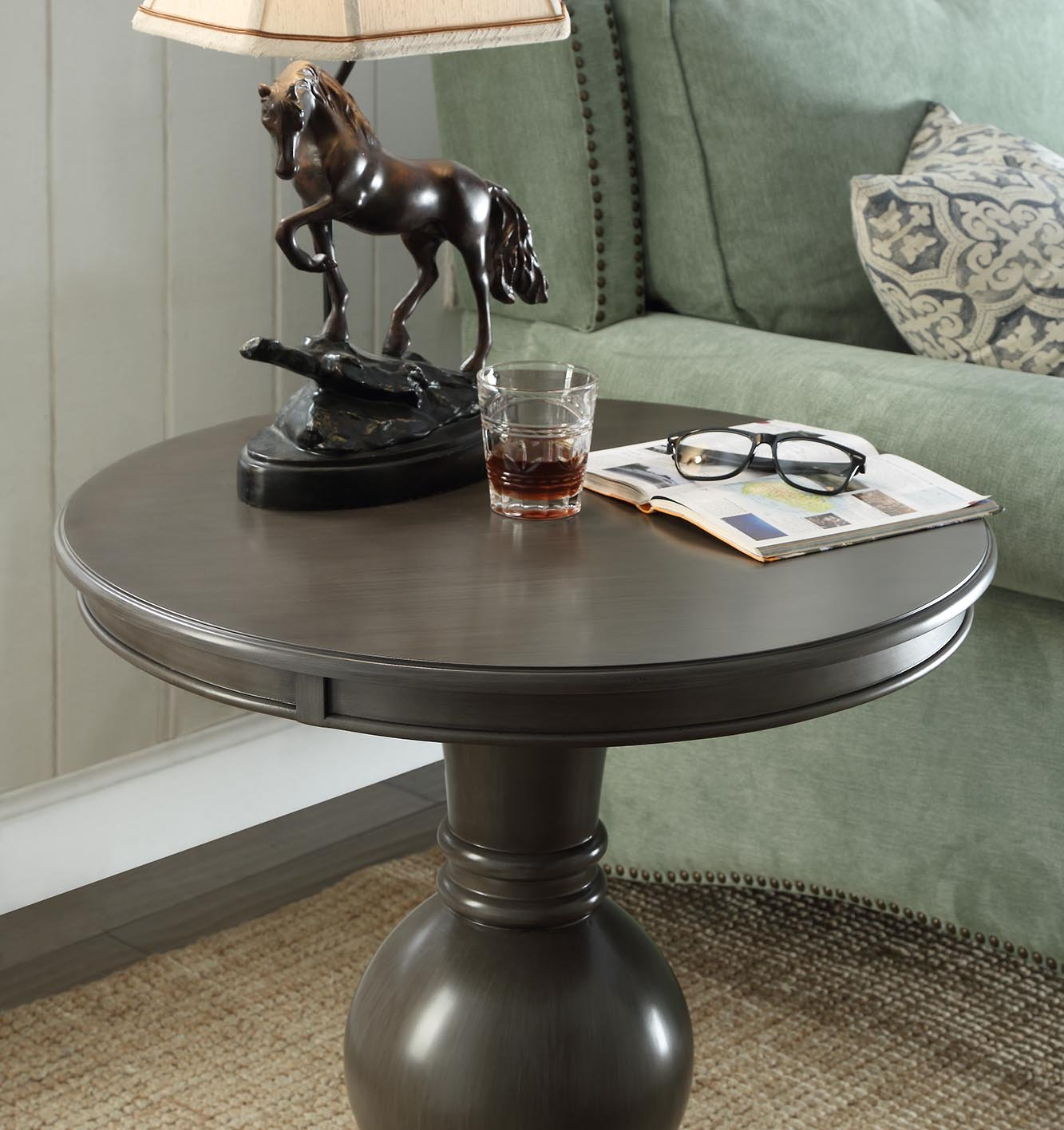 Wooden Round Side Table in Brushed Grey by One Source Living