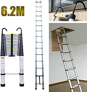 Escalera de altillo de aluminio con gancho desmontable, 15 pisadas, escalera telescópica, capacidad máxima 150 kg, 6,2 m: Amazon.es: Bricolaje y herramientas