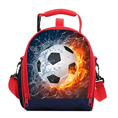 Kids Lunch Box For Boys Resuable Multi Convertible Insulated Thermal Boys Lunch Bags Tote With Shoulder Strap Lunch Box Backpack Sandwich Snack Bags Girls For School 3D Football Lunch Bags For Kids: Kitchen & Dining